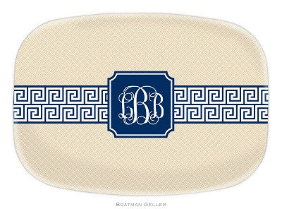 Greek Key Band Navy Melamine Platter