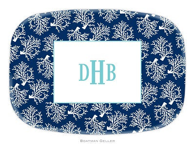 Coral Repeat Navy Melamine Platter