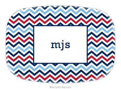 Chevron Blue & Red Melamine Platter