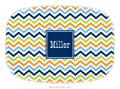 Chevron Blue, Orange, & Lime Melamine Platter