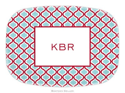 Kate Red & Teal Melamine Platter