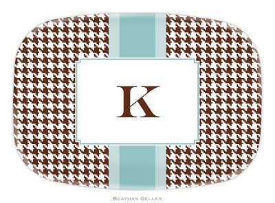Alex Houndstooth Chocolate Melamine Platter