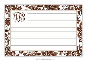 Clasic Floral Brown Recipe Card