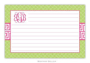 Greek Key Band Pink Recipe Card