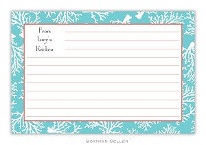 Coral Repeat Teal Recipe Card