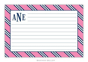 Repp Tie Pink and Navy Recipe Card