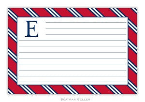 Repp Tie Red and Navy Recipe Card