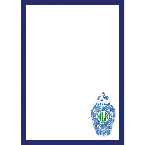 Monogrammed Ginger Jar Notepad