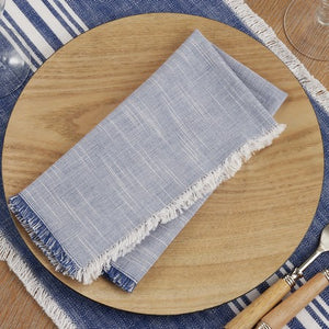 Blue and White Fringe Napkins/Set of 4