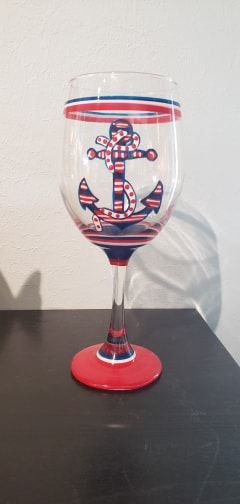 Hand Painted Wine Glass Anchor