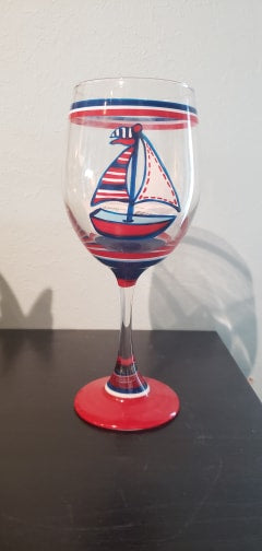 Hand Painted Wine Glass Sailboat