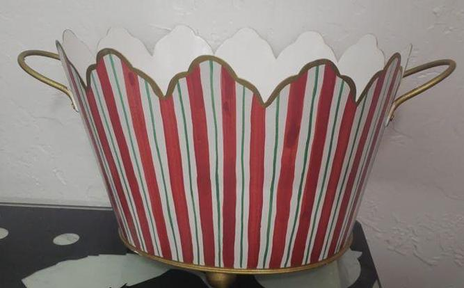 Red & Green Striped Oval Cachepot