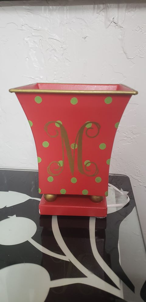 Red w/ Green Polka Dots Fluted Cachepot