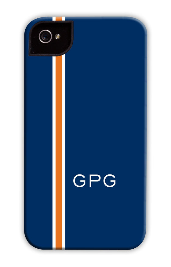 Vertical Stripe Navy & Orange Phone Case