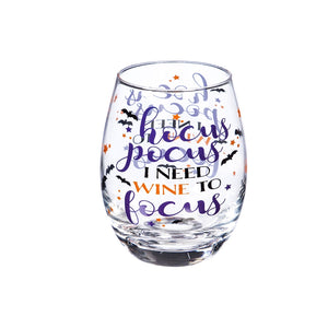 Hocus Pocus I Need Wine to Focus Stemless Wine Glass