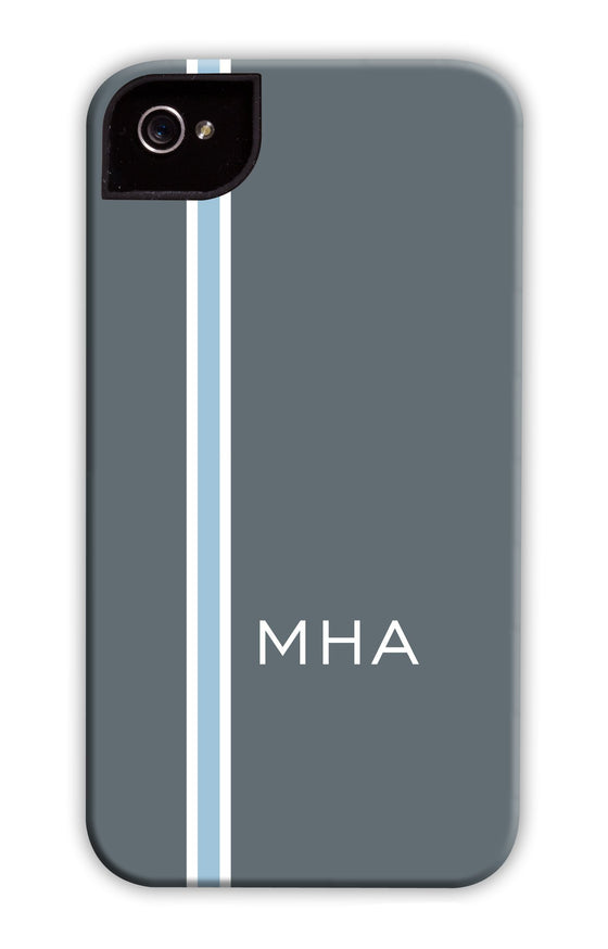 Vertical Stripe Grey & Light Blue Phone Case