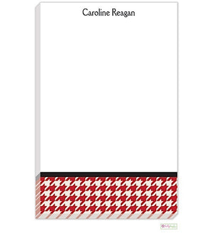 Personalized Red Houndstooth Modern Notepad