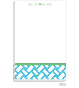 Personalized Basketweave Modern Notepad
