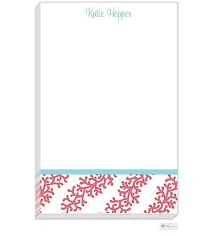 Personalized Coral Stripe Modern Notepad
