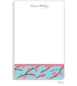 Personalized Pink Cherry Blossom Modern Notepad