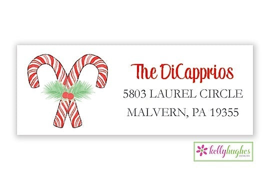 Candy Can Stripes - Christmas Holiday - Address Labels