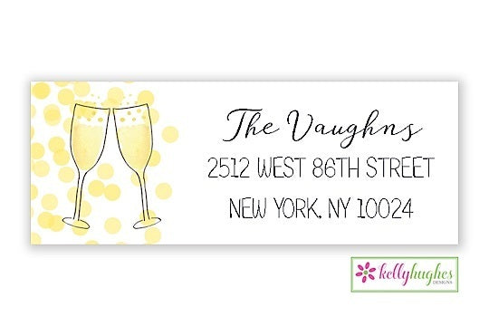 champagne toast new year holiday address labels