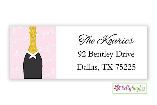 Clink Pop Fizz - New Year Holiday - Address Labels