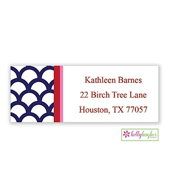 Shells w/ Stripe Modern Address Labels