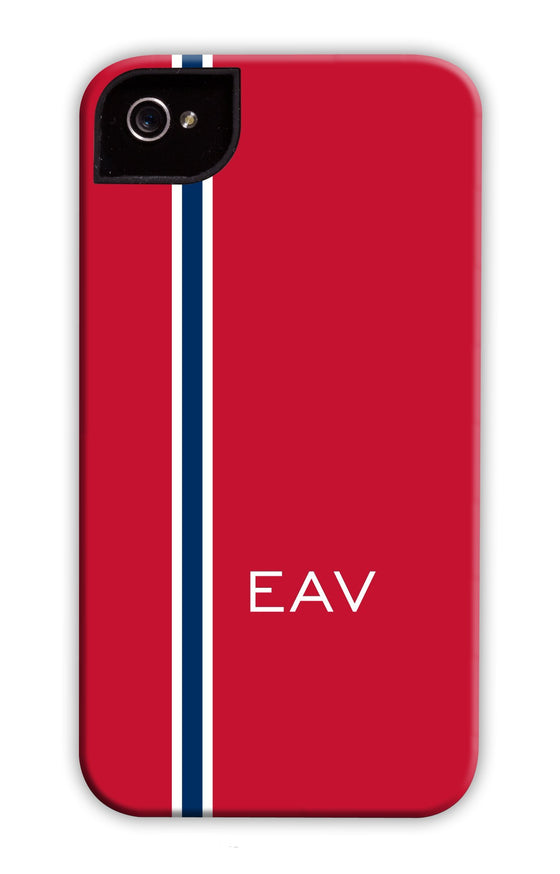 Vertical Stripe Red & Navy Phone Case