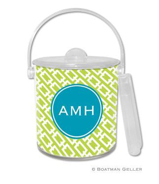 Chain Link Monogrammed Lucite Ice Bucket