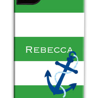 Nautical Stripe Kelly with Anchor Phone Case