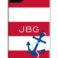 Nautical Stripe Maroon with Anchor Phone Case