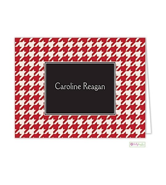 Red Houndstooth Modern Folded Notes
