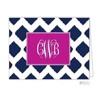 Navy Ikat Modern Folded Notes
