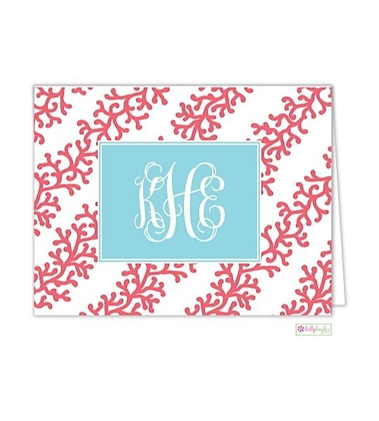 Coral Stripe Modern Folded Notes