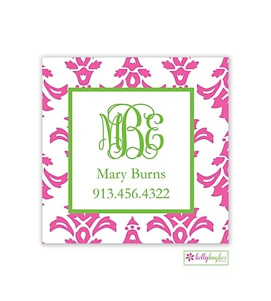 Pink Damask Modern Enclosure Card