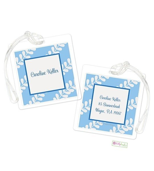 Personalized Blue Vines Modern Bag Tags