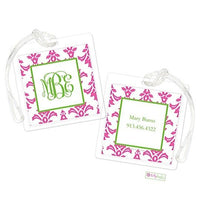Personalized Pink Damask Modern Bag Tags