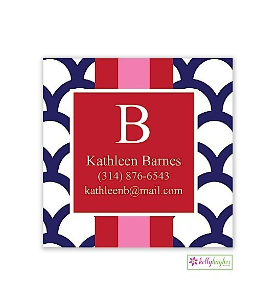Navy Shells w/ Stripe Modern Gift Sticker