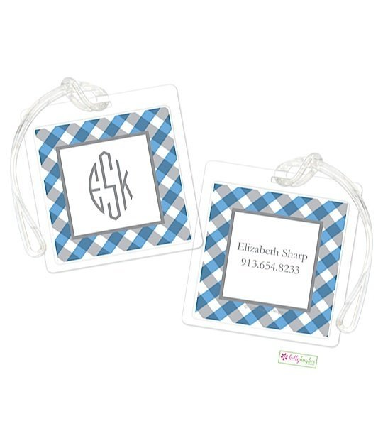 Personalized Gingham Modern Bag Tags
