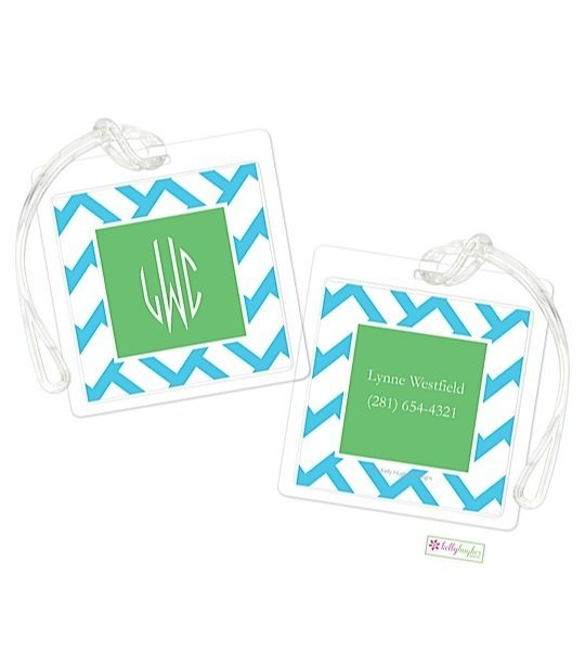 Personalized Basketweave Modern Bag Tags