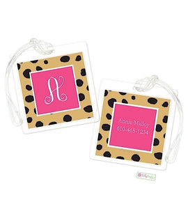 Personalized Cheetah Modern Bag Tags