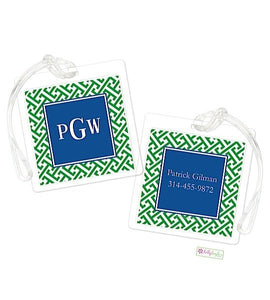 Personalized Greek Key Modern Bag Tags