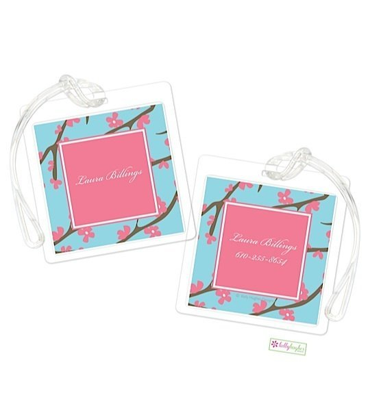 Personalized Pink Cherry Blossom Modern Bag Tags