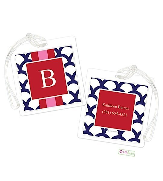 Personalized Navy Shells w/ Stripe Modern Bag Tags