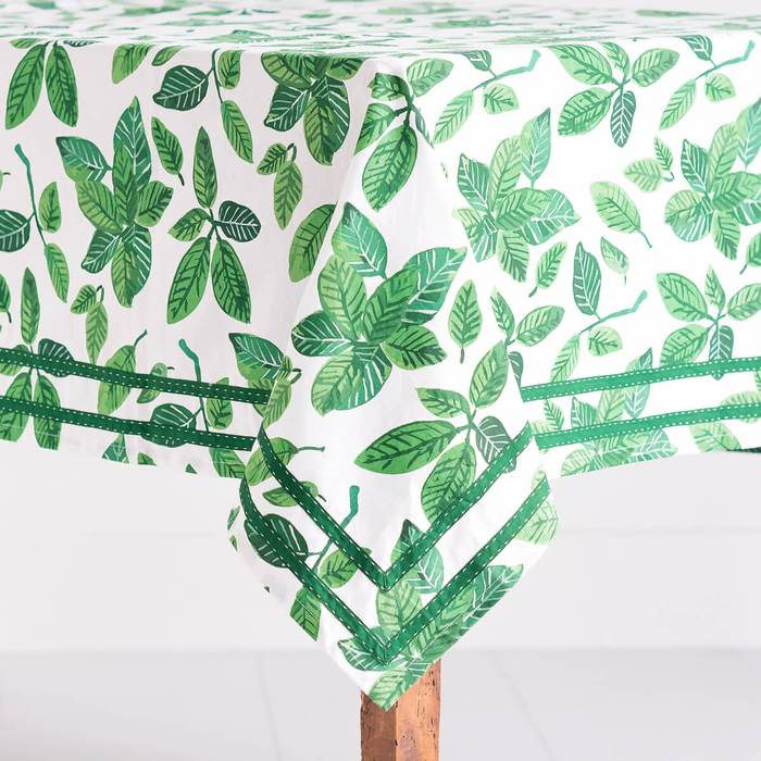 Ficus Dance Jade Tablecloth 5612