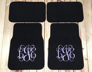 Monogrammed Car Mats - Rear Wheel Drive 2 or 4 piece set