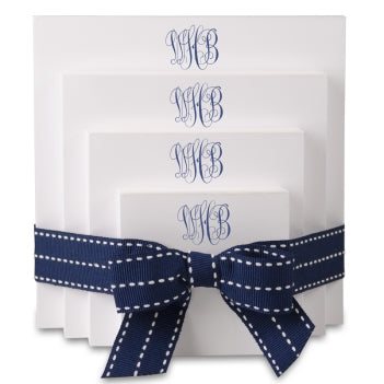 Delavan Monogram 4 Tablet Set (White with Navy Blue Stitched Ribbon)