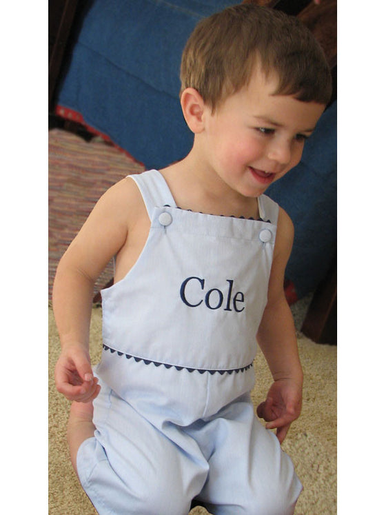 Monogrammed Pinstripe Blue and Navy Pique Shortall