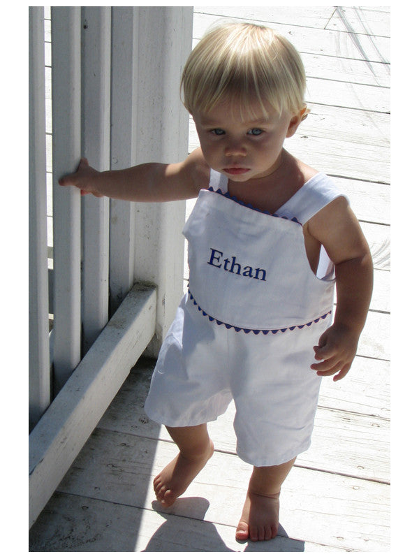 Monogrammed White and Navy Pique Shortall